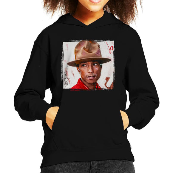 Sidney Maurer Original Portrait Of Pharrel Williams The Hat Kid's Hooded Sweatshirt