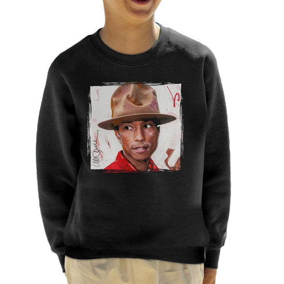 Sidney Maurer Original Portrait Of Pharrel Williams The Hat Kid's Sweatshirt