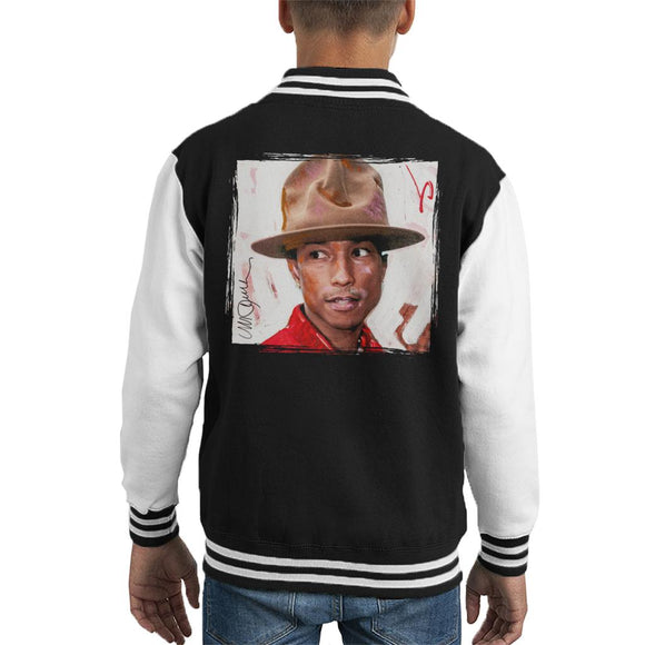 Sidney Maurer Original Portrait Of Pharrel Williams The Hat Kid's Varsity Jacket