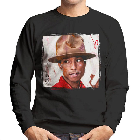 Sidney Maurer Original Portrait Of Pharrel Williams The Hat Men's Sweatshirt