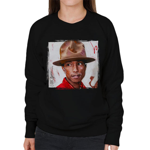 Sidney Maurer Original Portrait Of Pharrel Williams The Hat Women's Sweatshirt