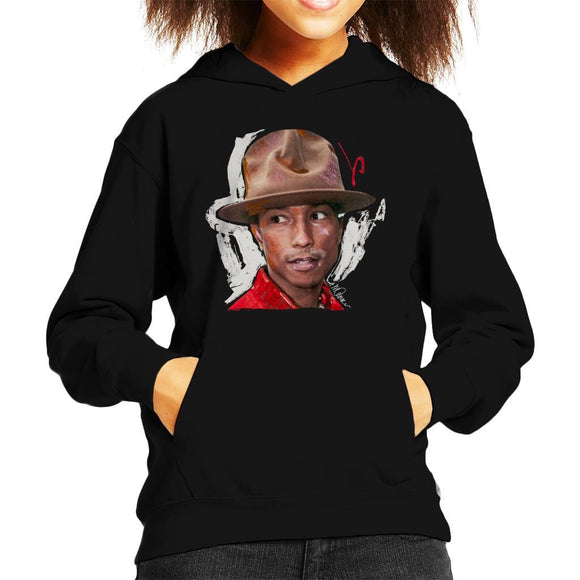 Sidney Maurer Original Portrait Of Pharrel Williams Hat Kids Hooded Sweatshirt - Kids Boys Hooded Sweatshirt