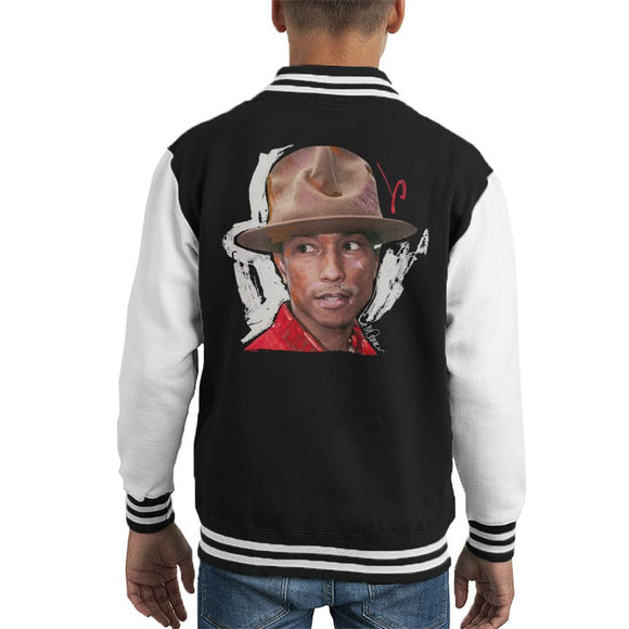 Sidney Maurer Original Portrait Of Pharrel Williams Hat Kids Varsity Jacket - Kids Boys Varsity Jacket