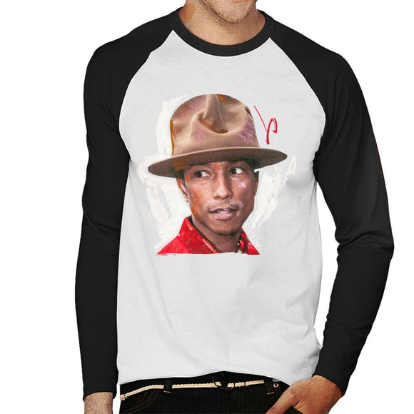 Sidney Maurer Original Portrait Of Pharrel Williams Hat Mens Baseball Long Sleeved T-Shirt - Mens Baseball Long Sleeved T-Shirt