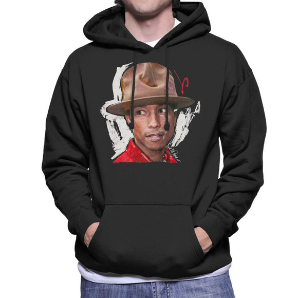 Sidney Maurer Original Portrait Of Pharrel Williams Hat Mens Hooded Sweatshirt - Mens Hooded Sweatshirt