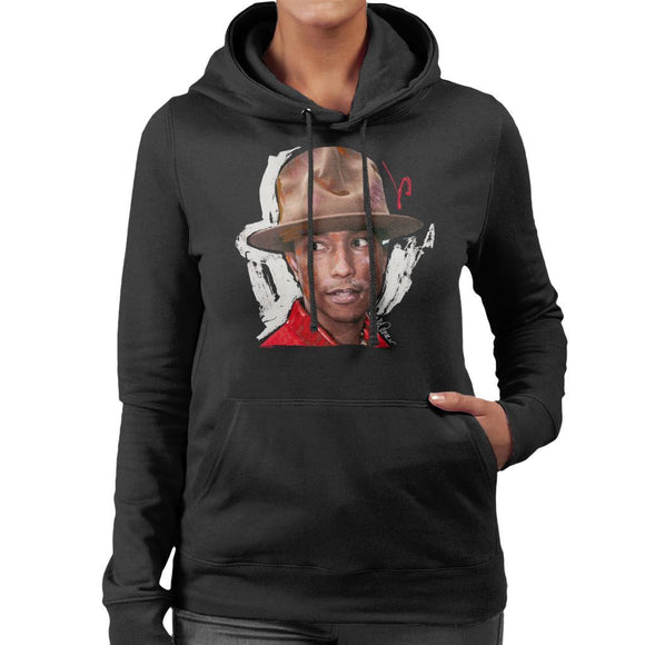Sidney Maurer Original Portrait Of Pharrel Williams Hat Womens Hooded Sweatshirt - Womens Hooded Sweatshirt