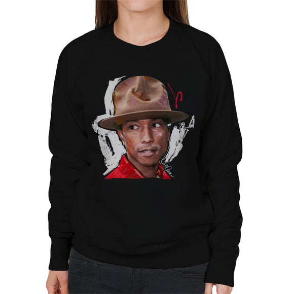 Sidney Maurer Original Portrait Of Pharrel Williams Hat Womens Sweatshirt - Womens Sweatshirt