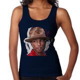 Sidney Maurer Original Portrait Of Pharrel Williams Hat Womens Vest - Small / Navy Blue - Womens Vest