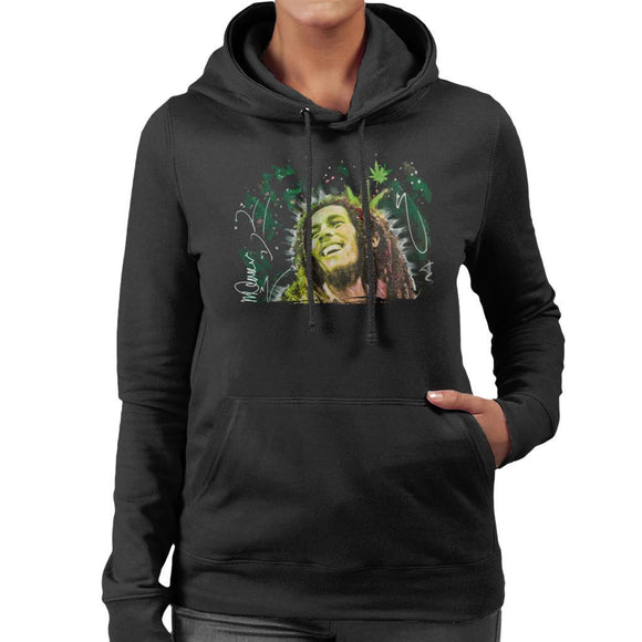 Sidney Maurer Original Portrait Of Bob Marley Smile Womens Hooded Sweatshirt - Womens Hooded Sweatshirt