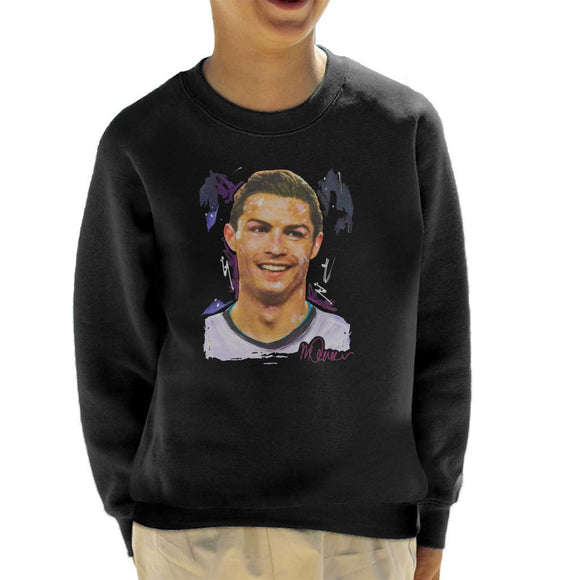 Sidney Maurer Original Portrait Of Cristiano Ronaldo Closeup Kids Sweatshirt - Kids Boys Sweatshirt