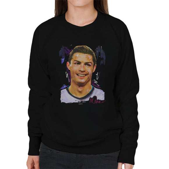 Sidney Maurer Original Portrait Of Cristiano Ronaldo Closeup Womens Sweatshirt - Womens Sweatshirt