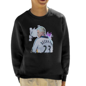 Sidney Maurer Original Portrait Of David Beckham Real Madrid Kit Kids Sweatshirt - Kids Boys Sweatshirt
