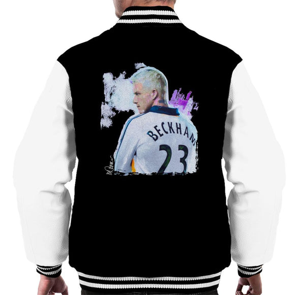Sidney Maurer Original Portrait Of David Beckham Real Madrid Kit Mens Varsity Jacket - Mens Varsity Jacket