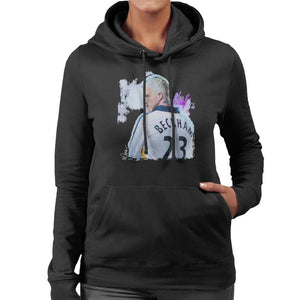 Sidney Maurer Original Portrait Of David Beckham Real Madrid Kit Womens Hooded Sweatshirt - Womens Hooded Sweatshirt