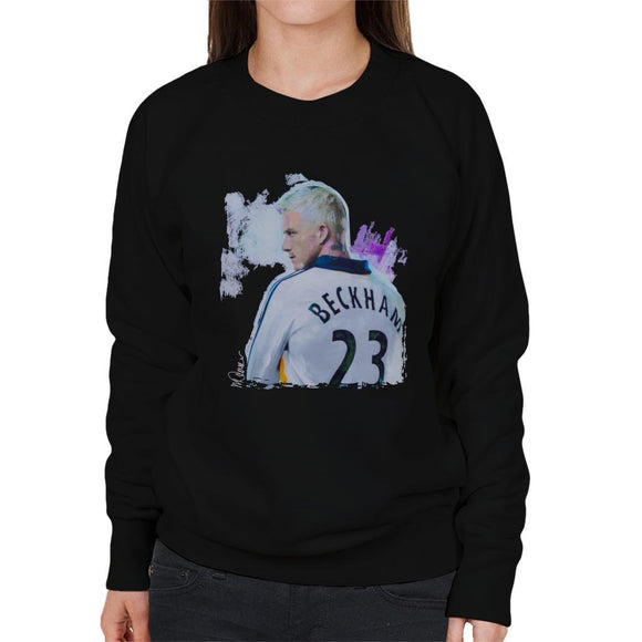 Sidney Maurer Original Portrait Of David Beckham Real Madrid Kit Womens Sweatshirt - Womens Sweatshirt