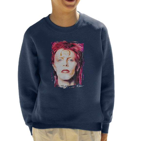 Sidney Maurer Original Portrait Of David Bowie Red Hair Kids Sweatshirt - Kids Boys Sweatshirt