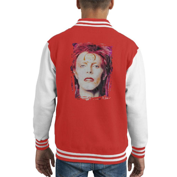 Sidney Maurer Original Portrait Of David Bowie Red Hair Kids Varsity Jacket - Kids Boys Varsity Jacket