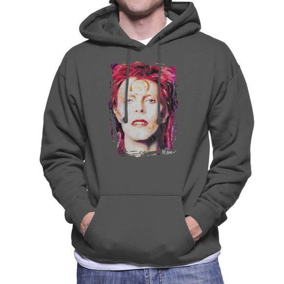 Sidney Maurer Original Portrait Of David Bowie Red Hair Mens Hooded Sweatshirt - Mens Hooded Sweatshirt