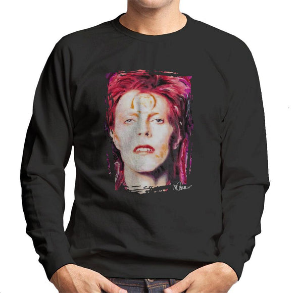 Sidney Maurer Original Portrait Of David Bowie Red Hair Mens Sweatshirt - Mens Sweatshirt