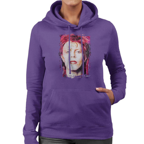 Sidney Maurer Original Portrait Of David Bowie Red Hair Womens Hooded Sweatshirt - Womens Hooded Sweatshirt