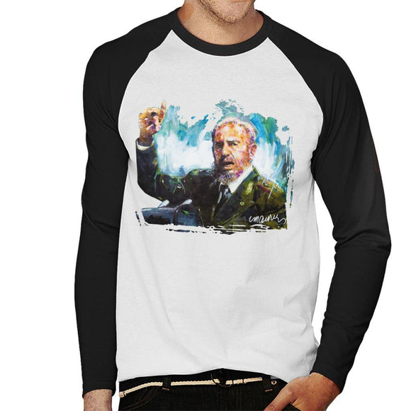 Sidney Maurer Original Portrait Of Fidel Castro Mens Baseball Long Sleeved T-Shirt - Mens Baseball Long Sleeved T-Shirt