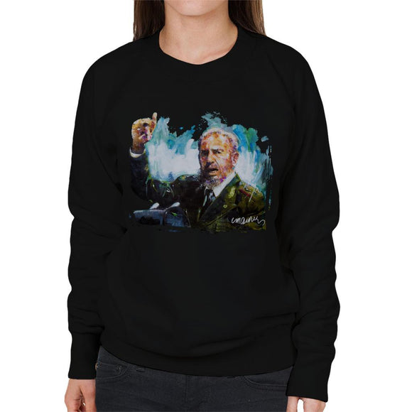 Sidney Maurer Original Portrait Of Fidel Castro Womens Sweatshirt - Womens Sweatshirt