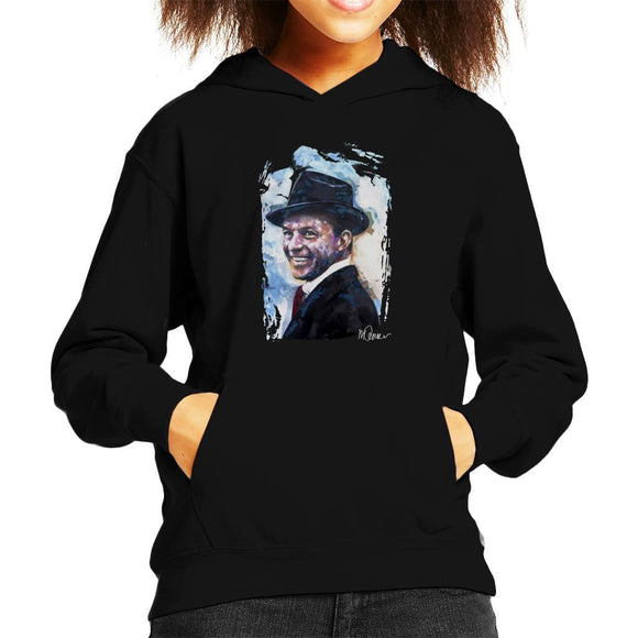 Sidney Maurer Original Portrait Of Frank Sinatra Hat Kids Hooded Sweatshirt - Kids Boys Hooded Sweatshirt