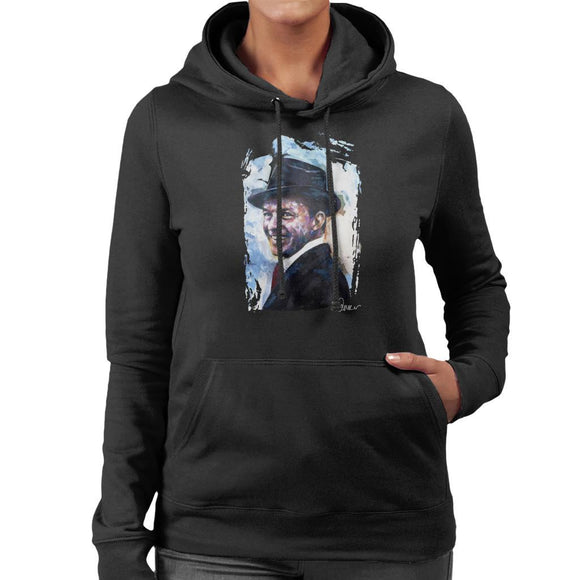 Sidney Maurer Original Portrait Of Frank Sinatra Hat Womens Hooded Sweatshirt - Womens Hooded Sweatshirt