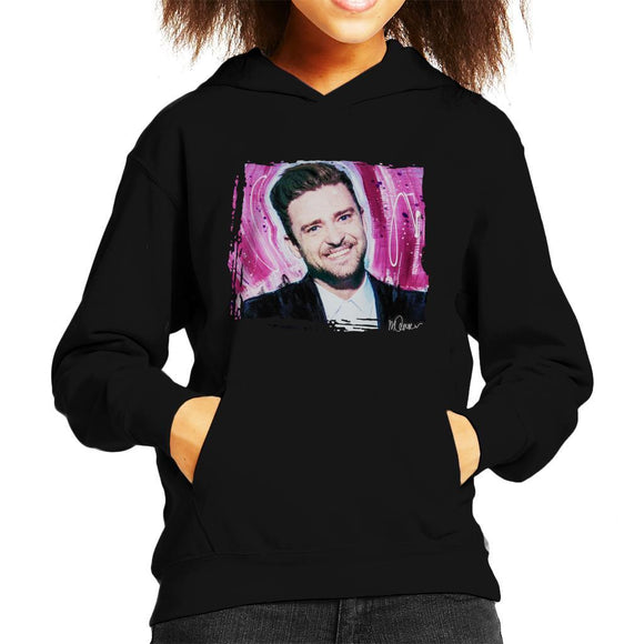 Sidney Maurer Original Portrait Of Justin Timberlake Smile Kids Hooded Sweatshirt - Kids Boys Hooded Sweatshirt