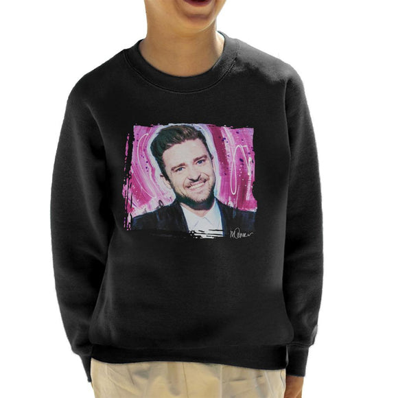 Sidney Maurer Original Portrait Of Justin Timberlake Smile Kids Sweatshirt - Kids Boys Sweatshirt