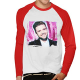 Sidney Maurer Original Portrait Of Justin Timberlake Smile Mens Baseball Long Sleeved T-Shirt - Mens Baseball Long Sleeved T-Shirt