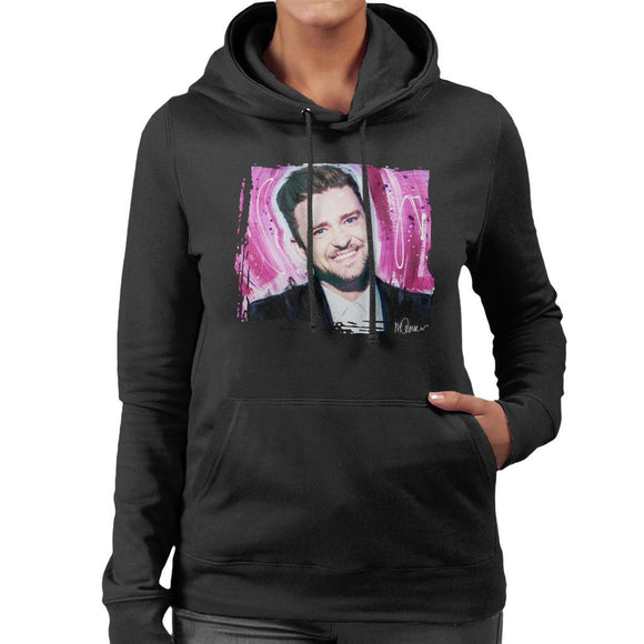 Sidney Maurer Original Portrait Of Justin Timberlake Smile Womens Hooded Sweatshirt - Womens Hooded Sweatshirt