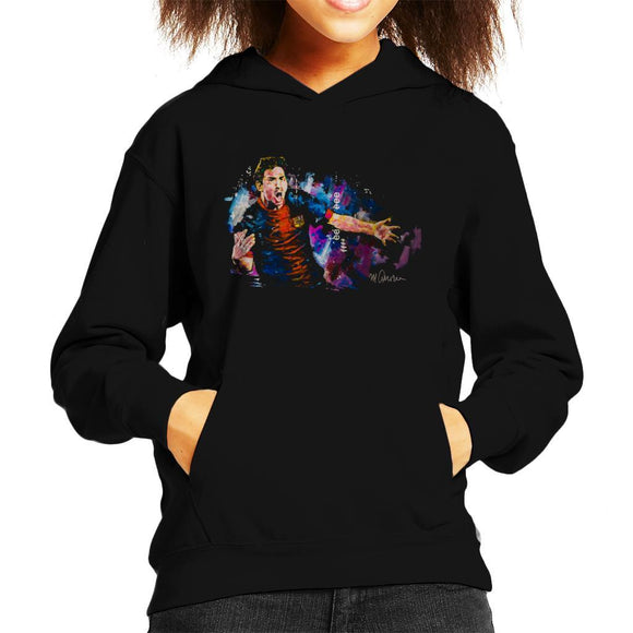 Sidney Maurer Original Portrait Of Lionel Messi FCB Badge Kids Hooded Sweatshirt - Kids Boys Hooded Sweatshirt