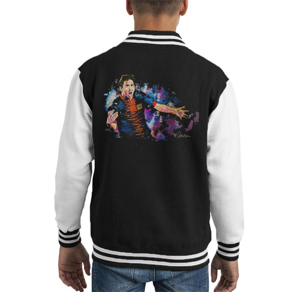 Sidney Maurer Original Portrait Of Lionel Messi FCB Badge Kids Varsity Jacket - Kids Boys Varsity Jacket