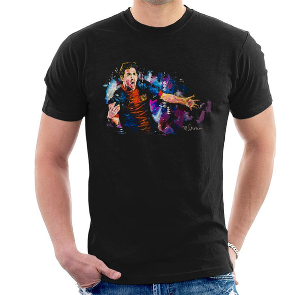 Sidney Maurer Original Portrait Of Lionel Messi FCB Badge Mens T-Shirt - Mens T-Shirt
