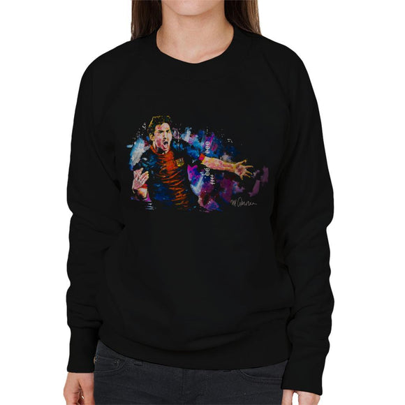 Sidney Maurer Original Portrait Of Lionel Messi FCB Badge Womens Sweatshirt - Womens Sweatshirt