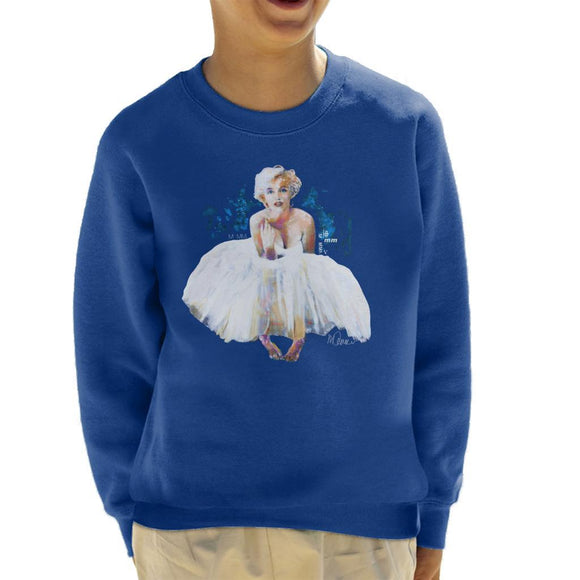 Sidney Maurer Original Portrait Of Marilyn Monroe White Dress Kids Sweatshirt - Kids Boys Sweatshirt