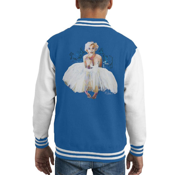 Sidney Maurer Original Portrait Of Marilyn Monroe White Dress Kids Varsity Jacket - Kids Boys Varsity Jacket
