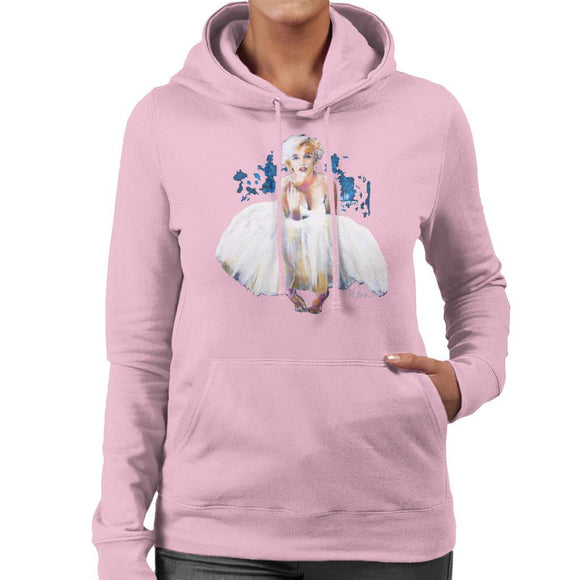 Sidney Maurer Original Portrait Of Marilyn Monroe White Dress Womens Hooded Sweatshirt - Womens Hooded Sweatshirt