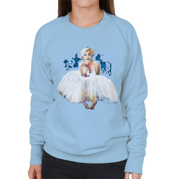 Sidney Maurer Original Portrait Of Marilyn Monroe White Dress Womens Sweatshirt - Womens Sweatshirt