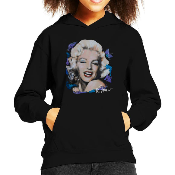 Sidney Maurer Original Portrait Of Marilyn Monroe Red Lips Kid's Hooded Sweatshirt
