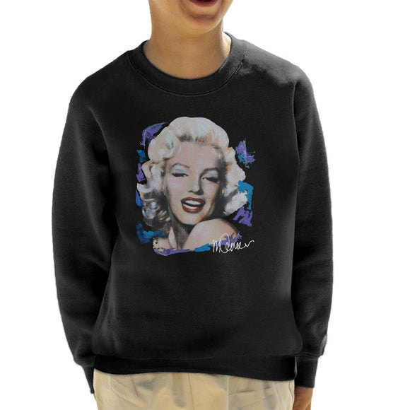 Sidney Maurer Original Portrait Of Marilyn Monroe Red Lips Kid's Sweatshirt