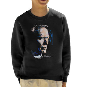 Sidney Maurer Original Portrait Of Clint Eastwood Kids Sweatshirt - Kids Boys Sweatshirt