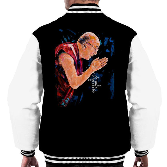 Sidney Maurer Original Portrait Of The Dalai Lama Mens Varsity Jacket - Mens Varsity Jacket