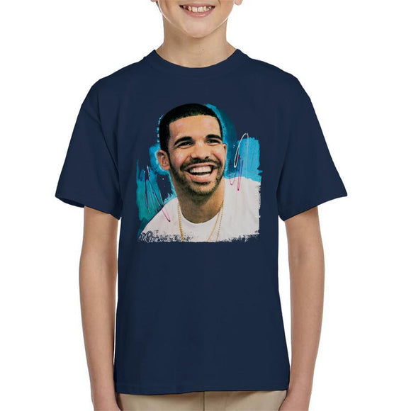 Sidney Maurer Original Portrait Of Drake Smiling Kids T-Shirt - Kids Boys T-Shirt