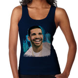 Sidney Maurer Original Portrait Of Drake Smiling Womens Vest - Small / Navy Blue - Womens Vest