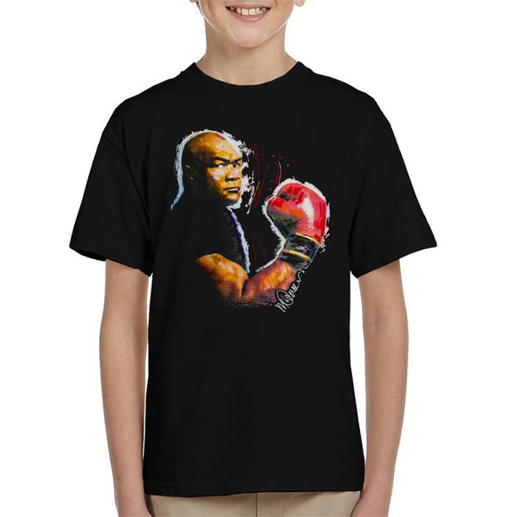 Sidney Maurer Original Portrait Of George Foreman Kids T-Shirt - Kids Boys T-Shirt