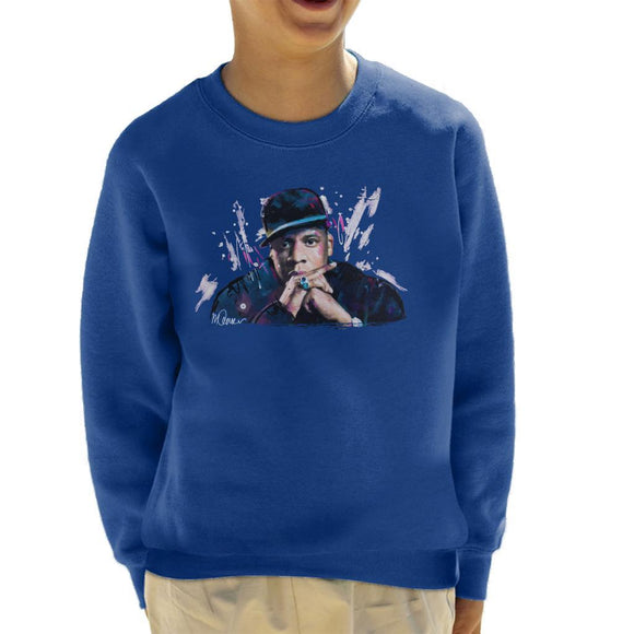 Sidney Maurer Original Portrait Of Jay Z The Black Album Kids Sweatshirt - Kids Boys Sweatshirt