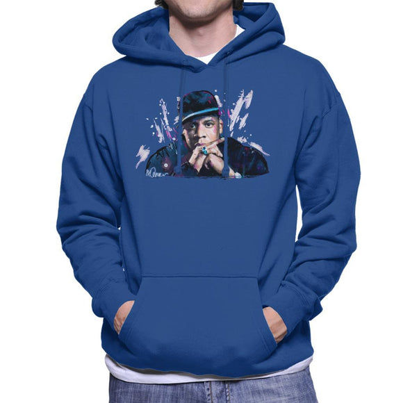 Sidney Maurer Original Portrait Of Jay Z The Black Album Mens Hooded Sweatshirt - Mens Hooded Sweatshirt