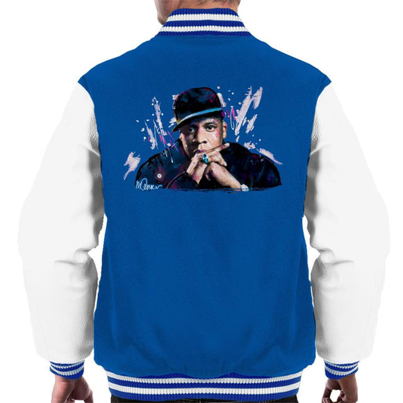Sidney Maurer Original Portrait Of Jay Z The Black Album Mens Varsity Jacket - Mens Varsity Jacket